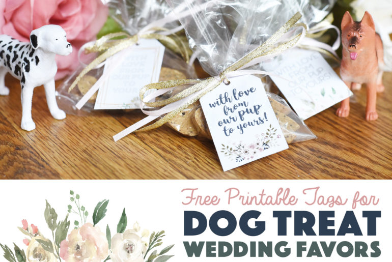 It's easier than you think to honor your pup on your wedding day! Ensure your party reaches the pups at home with these dog treat wedding favors with free printable tags.